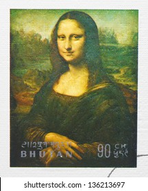 BHUTAN - CIRCA 1972: a postage stamp printed in Bhutan showing an image of Mona Lisa or La Gioconda from Leonardo Da Vinci, circa 1972.