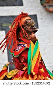 Bhutan dance(tibet dance),Close up Traditional dance and colors in Mongar, Bhutan ,masked dancers at a Buddhist religious ceremony,happy holiday,festival bhutan dance