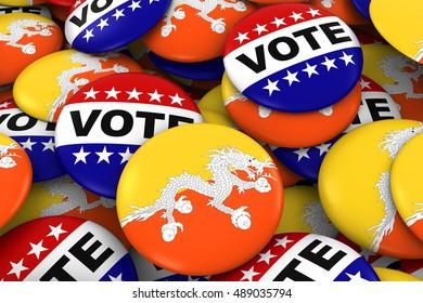 Bhutan Elections Concept - Bhutanese Flag and Vote Badges 3D Illustration