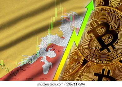 Bhutan flag and cryptocurrency growing trend with many golden bitcoins