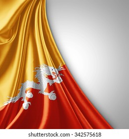 Bhutan flag of silk  with copyspace for your text or images