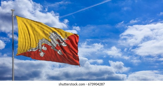 Bhutan flag waving on a blue sky background. 3d illustration