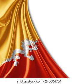 Bhutan flag and white background