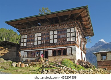 Bhutan, home in traditional architecture in Paro valley