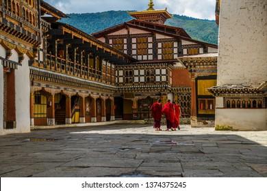 bhutan monks monastery buddhism