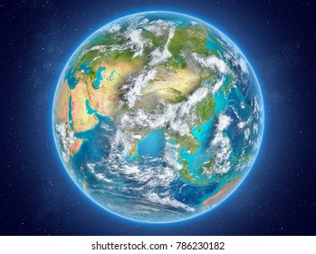 Bhutan in red on model of planet Earth with clouds and atmosphere in space. 3D illustration. Elements of this image furnished by NASA.