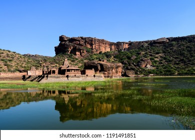 The Bhutanatha group of temples is a cluster of sandstone shrines dedicated to the deity Bhutanatha, in Badami town of Karnataka state, India. The image shows its reflection in Agastya Lake water.
