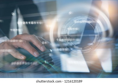 BI Business Intelligence, project management, software development, digital technology concept. Businessman working on laptop computer with big data, abstract technology background, binary interface