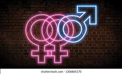 Bi neon sign  on a brick wall