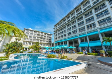 Biajo Beach, Panama, Central America - May 28th, 2017:  Despite a slowing economy, local people enjoy vacationing at a mid-tier Bijao Beach Resort.  Taking advantage of off-season prices.