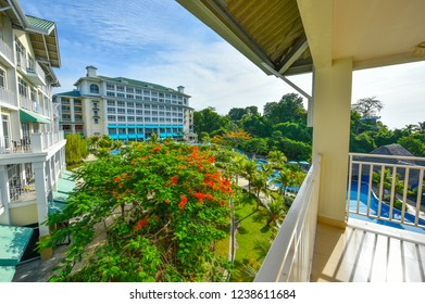 Biajo Beach, Panama, Central America - May 28th, 2017:  No one at the pool in the morning but despite a slowing economy, local people enjoy vacationing at a mid-tier Bijao Beach Resort.