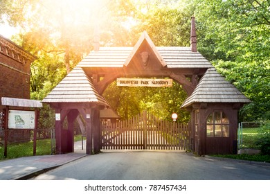 BIALOWIEZA / POLAND - JUNE 25, 2016: Entrance gate to the Palace Park, park is a part of Bialowieza (Belovezhskaya Pushcha) National Park, UNESCO World Heritage.
