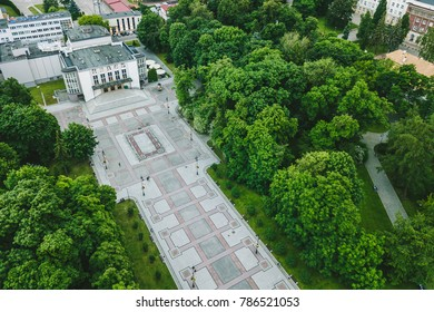 Bialystok city, Poland. Drone aerial view. Summer evening.
