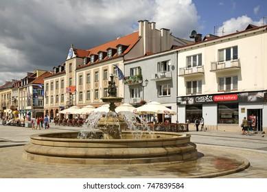 BIALYSTOK. POLAND. 14 AUGUST 2009 : Fountain at Kosciuszko Market Square in Bialystok. Poland