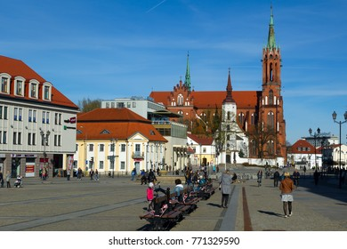 BIALYSTOK, POLAND - APRIL 08, 2017: The historical part of the city and the cathedral in Bialystok, Poland. Bialystok is the largest city and cultural capital of Northeastern Poland.