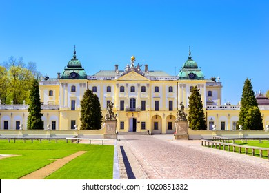 Bialystok, Poland - April 30, 2012: Branicki Palace and Medical University of Bialystok Clinical Hospitals in Poland. Architecture of baroque mansions - historical memorial