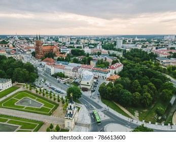 BIALYSTOK, POLAND - JUNE 24, 2017: Bialystok city, Poland. Drone aerial view. Summer evening.