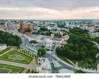 BIALYSTOK, POLAND - JUNE 24, 2017: Bialystok city, Poland. Drone aerial view. Summer evening.