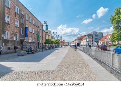 Bialystok, Poland - May 18, 2019: Kosciusko square in old town of Białystok.