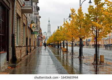 Bialystok, Poland - October 18, 2015: Autumn street with lindens in Bialystok.