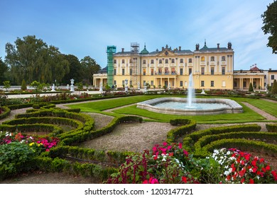 Bialystok, Poland - September 17, 2018: Beautiful gardens of the Branicki Palace in Bialystok, Poland. Bialystok  is the largest city in northeastern Poland.
