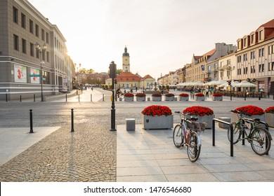 Bialystok, Poland - September 17, 2018: Architecture of the Kosciusko Main Square with Town Hall in Bialystok, Poland. Bialystok  is the largest city in northeastern Poland.