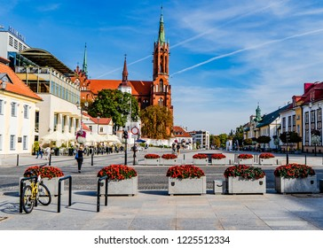 Bialystok, Poland-9/18/2018-Kosciuszko Square is the main square in Bialystok, the largest city in Northeastern Poland. The square is the location of many fine restaurants, stores and the Cathedral.