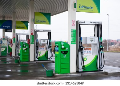 Bialystok/Poland February 12, 2019 BP or British Petroleum gas station in Bialystok