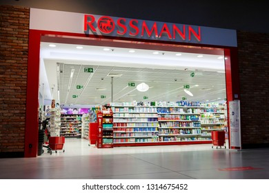 Bialystok/Poland February 12. 2019 Founded in 1972 Dirk Rossmann GmbH commonly known as Rossmann Drogeria Parfumeria Cosmetic Shop is the second largest drugstore chain based in Germany