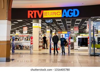 Bialystok/Poland February 12, 2019 RTV Euro AGD shop in Bialystok