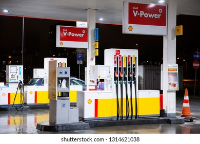 Bialystok/Poland February 12, 2019 Shell gas station in Bialystok