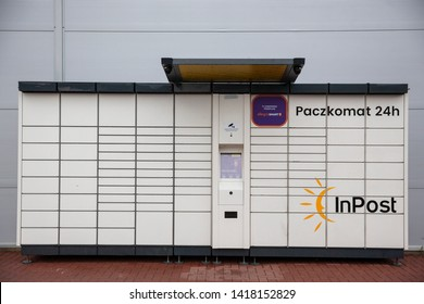 Bialystok/Poland May 24, 2019  InPost Paczkomat 24h package deliver service safe