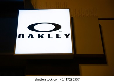 Bialystok/Poland May 24, 2019 Oakley based in Lake Forest, California, and a subsidiary of Italian corporate giant Luxottica based in Milan, designs, develops and manufactures sports performance