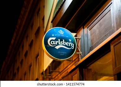 Bialystok/Poland May 29, 2019 Carlsberg logo on a wall. The Carlsberg Group is a Danish brewing company founded in 1847 by J.C. Jacobsen with headquarters located in Copenhagen, Denmark