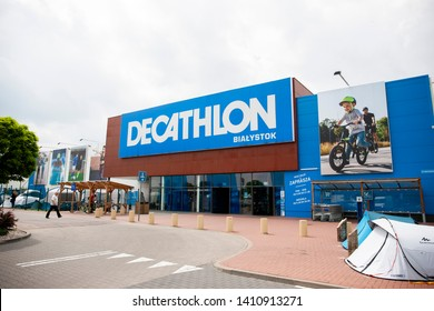 Bialystok/Poland May 29, 2019   Decathlon sign on a wall. Decathlon is a french company and one of the world's largest sporting goods retailers
