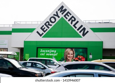 Bialystok/Poland May 29, 2019  Leroy Merlin store chain brand logo at its building located in Bialystok shopping area, Poland. Leroy Merlin is a French home improvement and gardening retailer