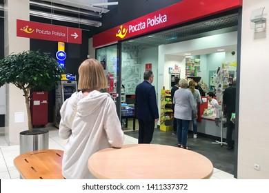 Bialystok/Poland May 29, 2019  Poczta polska logo on Poczta polska store. Poczta Polska (Polish Post) is the national postal service of Poland - Image