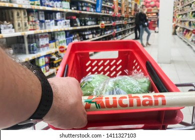 Bialystok/Poland May 29, 2019  View of Auchan supermarket logo. Auchan is a French international supermarket chain, is one of the largest distribution groups.