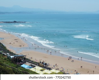 Biarritz, Aquitaine France. July 10, 2017 Cote des Basques beach with bathers in summer.