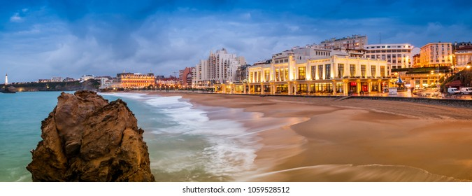 Biarritz beach at night in winter, France