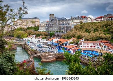 biarritz city center under clouds - Shutterstock ID 1986843245
