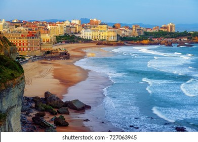 Biarritz city and its famous sand beaches - Miramar and La Grande Plage, Bay of Biscay, Atlantic coast, France