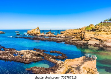 Biarritz coast in the Basque country of France, with the Virgin Mary rock and the beach.