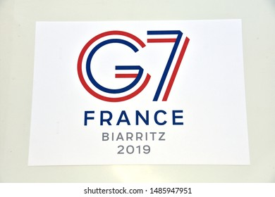"Biarritz, France - August 23, 2019 : The 2019 ""G7"" summit will take place from 24 to 26 August 2019, in France in Biarritz  ""G7"" for ""Group of Seven"""