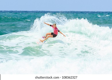 BIARRITZ, FRANCE - JULY 14: Stephanie Gilmore defeats Coco Ho during the first semi final at the women's pro championship Roxy Pro July 14, 2012 in Biarritz, France.