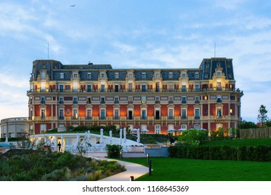 BIARRITZ, FRANCE - JULY 2018: The exterior of the luxury Hotel du Palais Imperial Resort and Spa