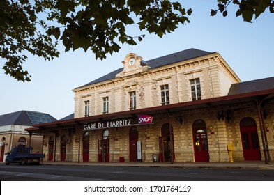 Biarritz, French Basque Country, France - July 19th, 2019 : Main facade of the Gare de Biarritz railway station.