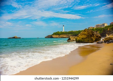 Biarritz Lighthouse (Faro de Biarritz) on the cliff, Pays Basque, France