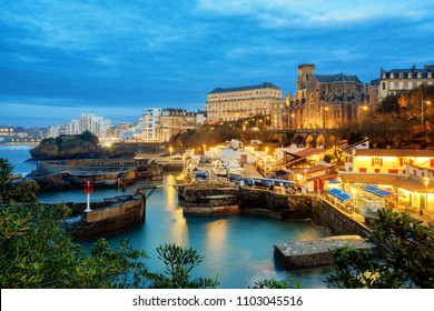 Biarritz Old Town, port and St Eugenie church, Basque Country, France, in late evening light