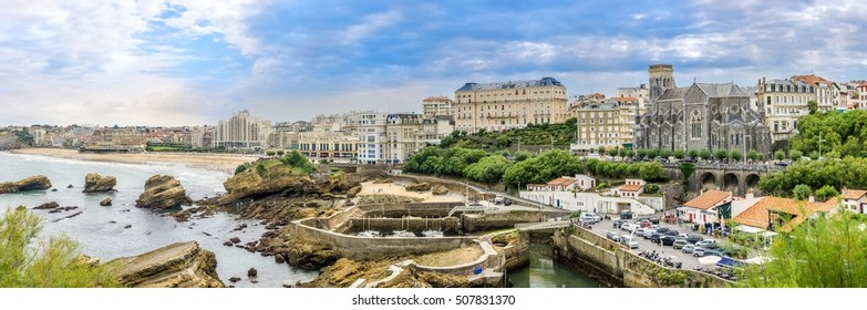 BIARRITZ,FRANCE - AUGUST 31,2016 - Panoramic view at the Biarritz city. Biarritz is a city on the Bay of Biscay, on the Atlantic coast in the Pyrenees-Atlantic department.